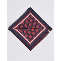 M&S Collection Pure Silk Geometric Print Pocket Square