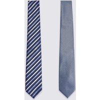 M&S Collection 2 Pack Striped & Textured Ties