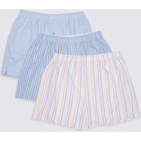 M&S Collection 3 Pack Pure Cotton Striped Boxers