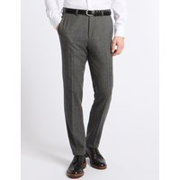 MandS Collection Grey Textured Modern Slim Fit Trousers