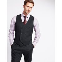 M&S Collection Luxury Charcoal Textured Slim Fit Wool Waistcoat