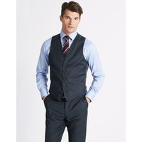 M&S Collection Luxury Navy Slim Fit Wool Waistcoat
