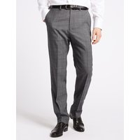 M&S Collection Luxury Grey Textured Regular Fit Wool Trousers