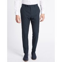 Limited Edition Navy Textured Modern Slim Fit Trousers