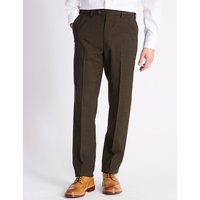 M&S Collection Tailored Fit Wool Blend Flat Front Trousers