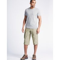 M&S Collection Cotton Rich 3/4 Leg Trekking Shorts
