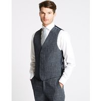 M&S Collection Linen Miracle Tailored Fit Waistcoat