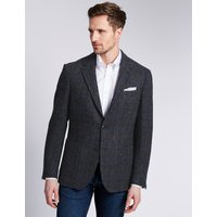 MandS Collection Luxury Pure Wool Tailored Fit Harris Tweed Jacket