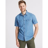 MandS Collection Pure Cotton Authentic Shirt with Pockets