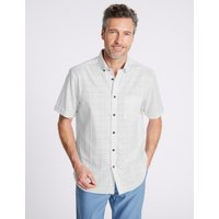 Blue Harbour 2in Longer Pure Cotton Textured Shirt with Pocket