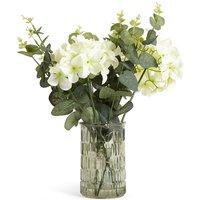 Lit Hydrangea & Eucalyptus in Green Vase