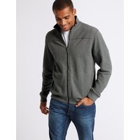 M&S Collection Cotton Funnel Neck Regular Fit Jacket