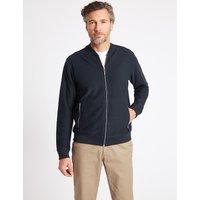 Blue Harbour Pure Cotton Textured Bomber Jacket