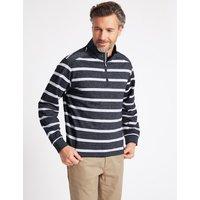 Blue Harbour Cotton Rich Striped Half Zipped Sweatshirt