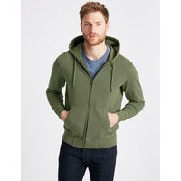 M&S Collection Pure Cotton Garment Dye Hooded Top