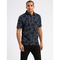 M&S Collection Slim Fit Pure Cotton Printed Polo Shirt