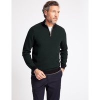 Blue Harbour Pure Cotton Textured Half Zipped Jumper