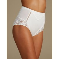 M&S Collection Medium Control Lace High Leg Knickers