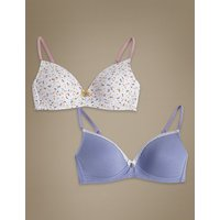 Angel 2 Pack Padded Full Cup First Bras A-D