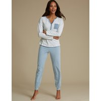 M&S Collection Striped Long Sleeve Pyjama Set