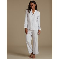 M&S Collection Pure Cotton Textured Long Sleeve Pyjamas