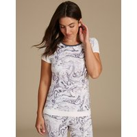 M&S Collection Marble Print Short Sleeve Top