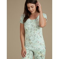 M&S Collection Floral Print Short Sleeve Pyjama Top