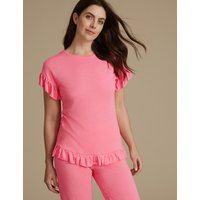 M&S Collection Frill Hem Short Sleeve Pyjama Top at Marks and Spencer Online