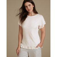 M&S Collection Frill Hem Short Sleeve Pyjama Top
