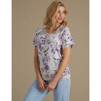 M&S Collection Printed Short Sleeve Pyjama Top