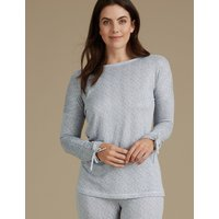 M&S Collection Textured Tie Cuff Long Sleeve Pyjama Top