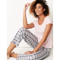 M&S Collection Pure Cotton Checked Short Sleeve Pyjamas