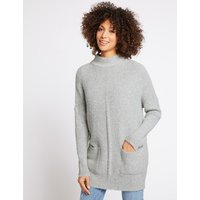 M&S Collection Textured Round Neck Long Sleeve Tunic Jumper
