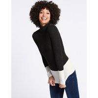 M&S Collection Colour Block Roll Neck Long Sleeve Jumper