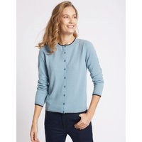 Classic Tipped Round Neck Cardigan at Marks and Spencer Online