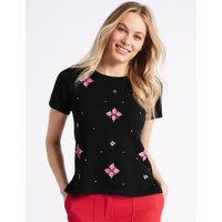 M&S Collection Floral Embellished Short Sleeve Top