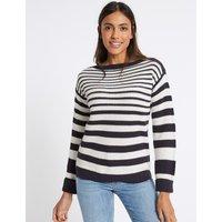 M&S Collection Pure Cotton Striped Slash Neck Jumper