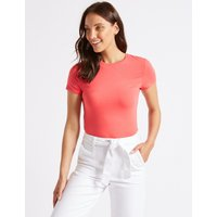 M&S Collection Cotton Rich Round Neck Short Sleeve T-Shirt with Stretch