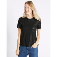 M&S Collection Sparkle Round Neck Short Sleeve T-Shirt