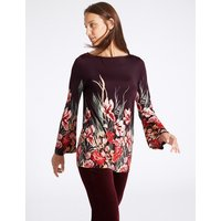 M&S Collection Floral Print Slash Neck Long Sleeve Tunic