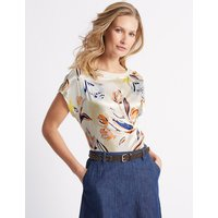 Classic Floral Print Satin Front Jersey Back Top