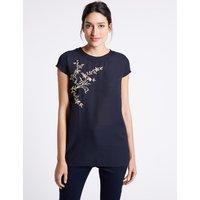 Per Una Embroidered Round Neck Short Sleeve Tunic