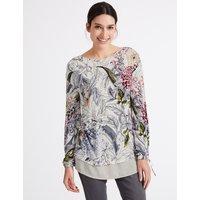 Per Una Embellished Front Floral Long Sleeve T-Shirt