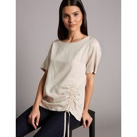 Autograph Drawstring Front Short Sleeve Top with Linen