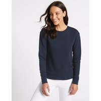 M&S Collection Cotton Rich Round Neck Long Sleeve Top