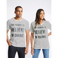 FASHION TARGETS BREAST CANCER Unisex Pure Cotton Striped Slogan T-Shirt