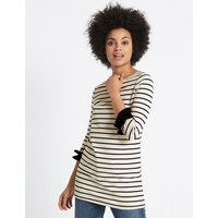 M&S Collection Cotton Rich Striped Ruffle Cuff Tunic