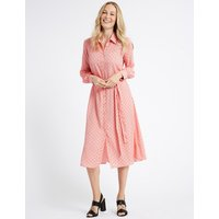 M&S Collection Printed Longline Shirt Midi Dress