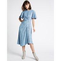 Limited Edition Jacquard Print Short Sleeve Midi Dress
