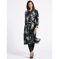 M&S Collection Floral Print Long Sleeve Shift Midi Dress